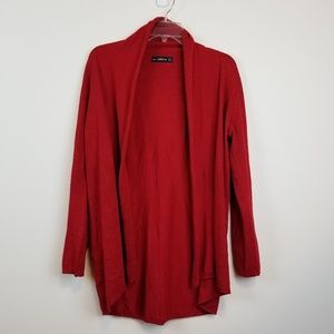Zara red open front knit cardigan size Large